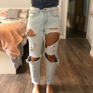 Garage Distressed Mom Jeans
